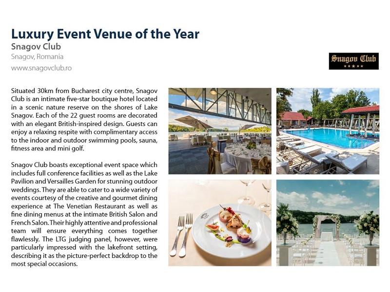 Hotel Snagov Club, premiat international pentru cea mai buna locatie de evenimente din regiune 2