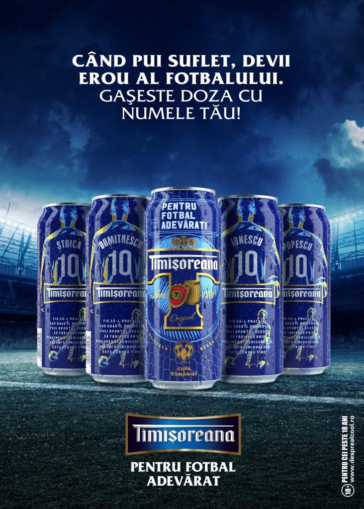 Eroii adevărați inspiră fotbalul adevărat! Timișoreana lansează o ediție limitată de cutii de bere inscripționate cu 120 dintre cele mai populare nume de familie din România 1